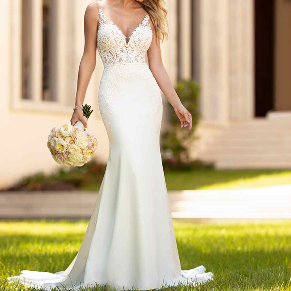 Sleek Wedding Gowns: 2019 Mermaid Satin Wedding Dress Lace Applique Simple And