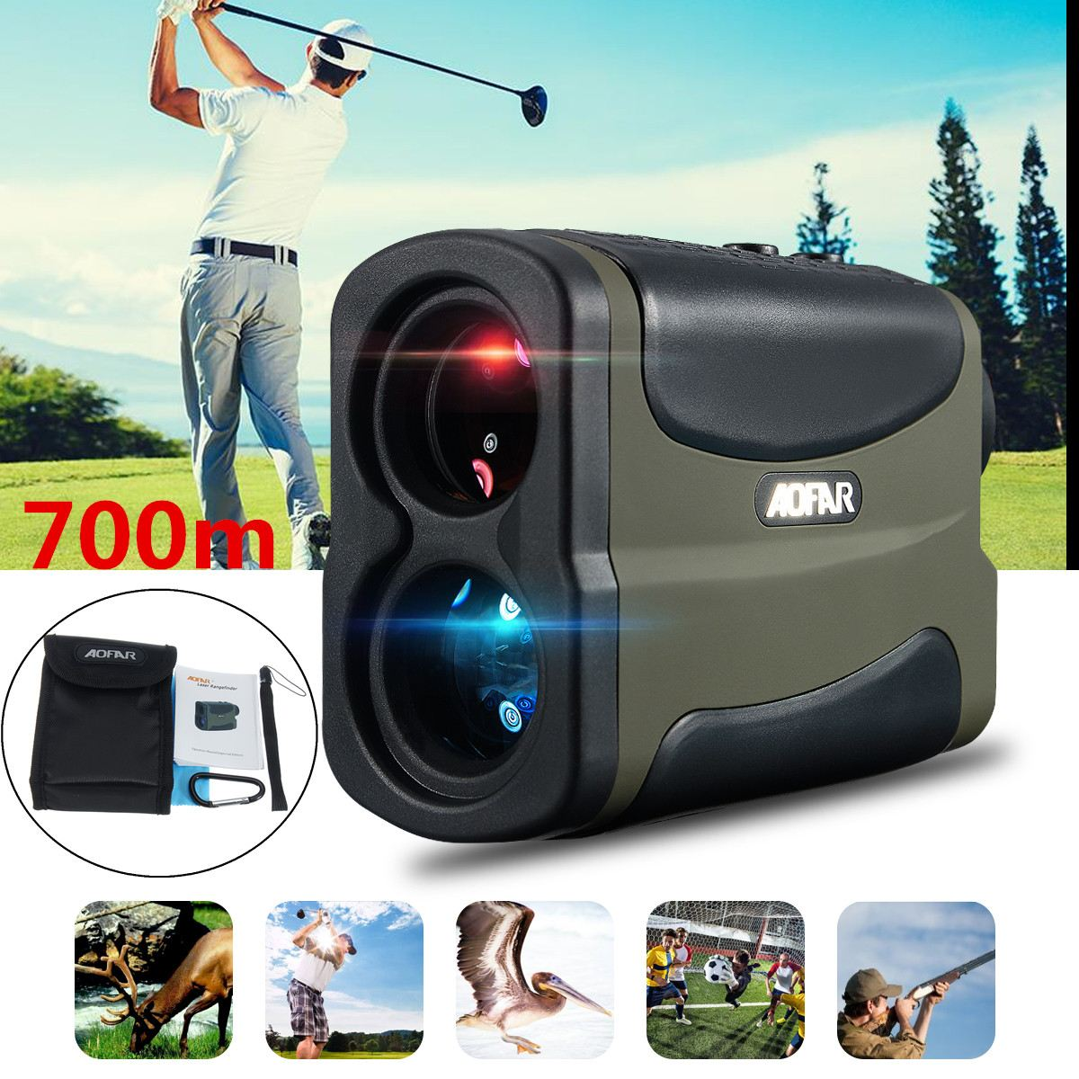 700M Multifunction 6x Laser Range Finder Telescope Angle Hunting Distance Golf Rangefinder Golf