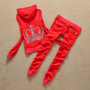Image 5 - Brand Sweatsuit Velvet Fabric Tracksuits Velour Outfits Hoodies Tops and Sweat Pants Set S  XL