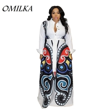 OMILKA 2019 Autumn Women Long Sleeve Stand Neck Butterfly Printed Big Swing Dress Casual Loose White Club Party Long Maxi Dress omilka geometric printed big swing long maxi dress 2019 autumn winter long sleeve turn down collar plus size casual loose dress