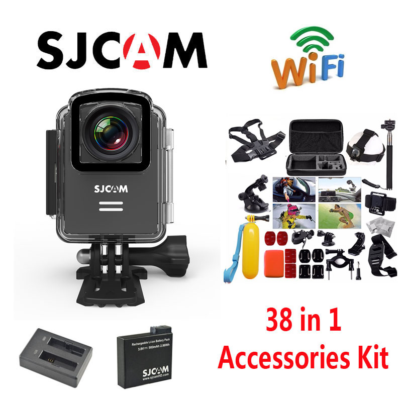 Original SJCAM M20 Wifi Waterproof Sports Action Camera Battery Charger Extra 1pcs Battery 38Pcs Accessories Kit