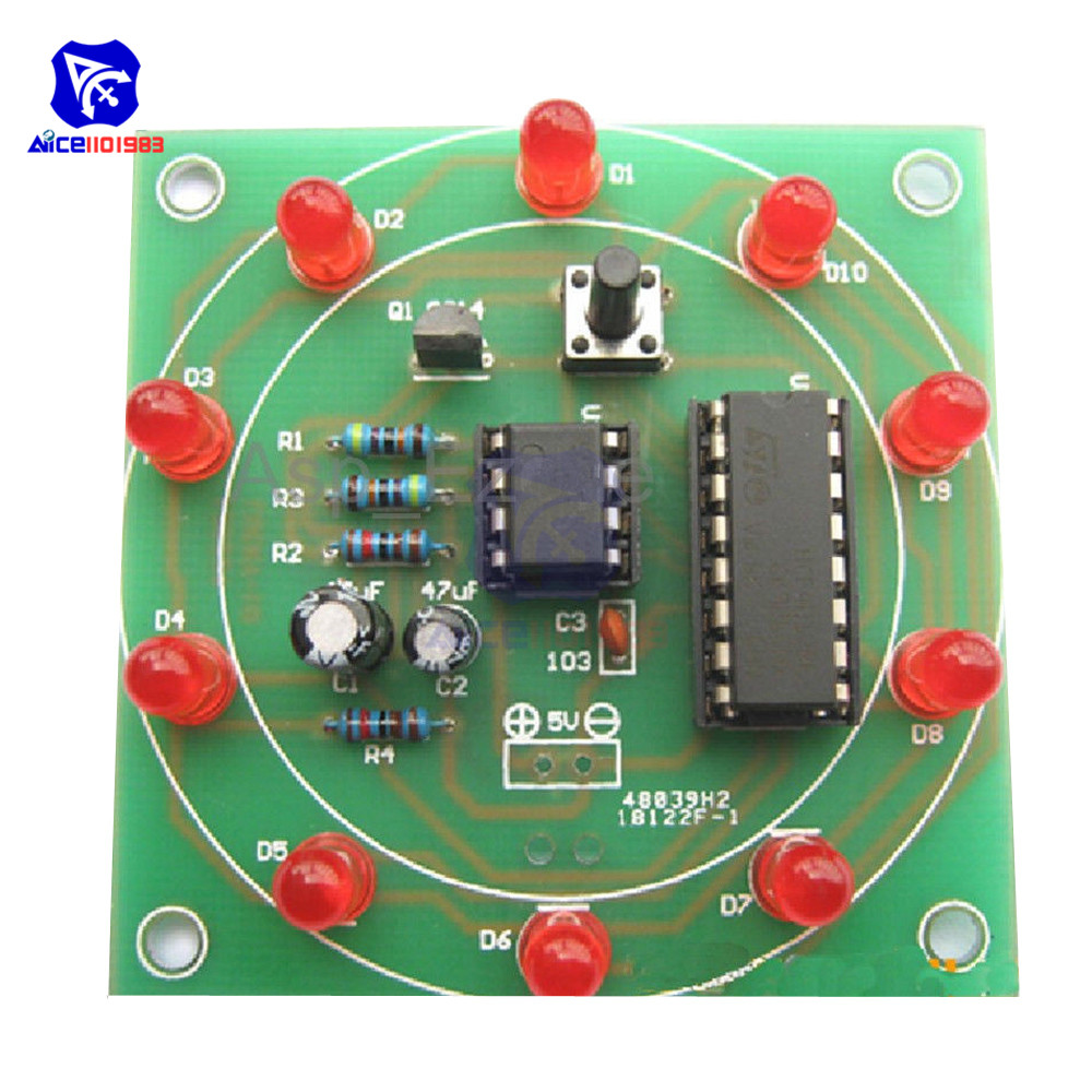 Lucky Rotary Suite Electronic Suite CD4017 NE555 Self LED Light Kits Production Parts And Components 3V 5V Pulse Generator DIY