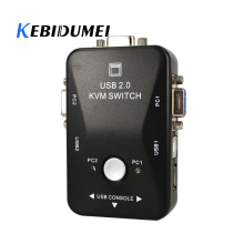 Kebidumei AK USB2.0 KVM 2 Porte Selettore VGA Stampa Switch Auto Box VGA/SVGA Switch Box Adattatore 1920x1440 risoluzione massima(China)