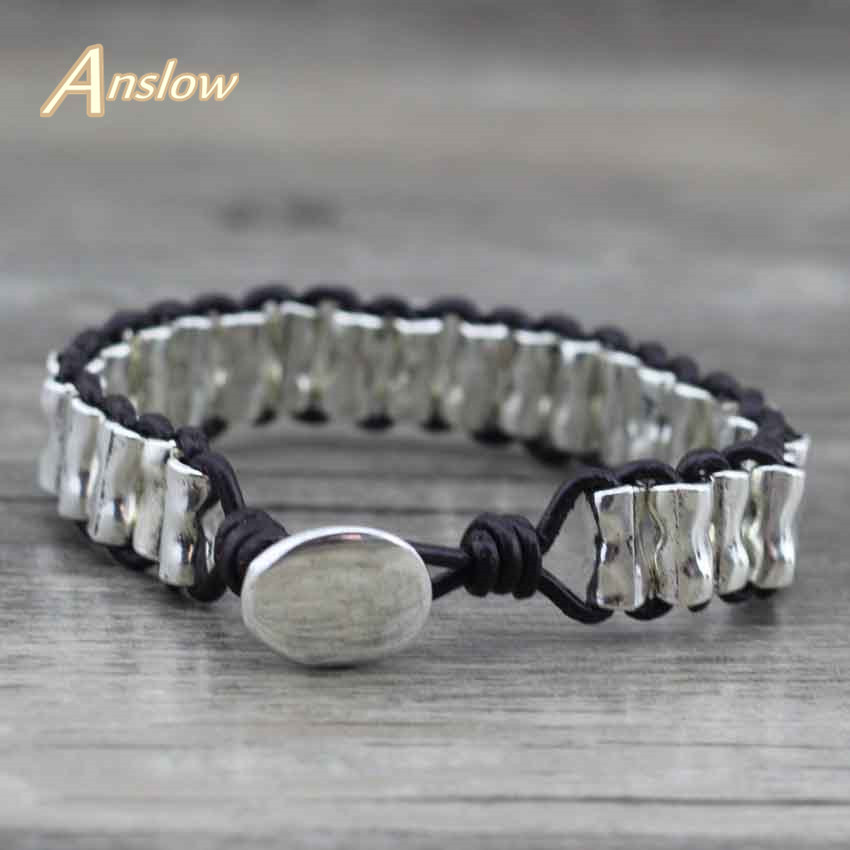 Anslow 2017 New Vintage Retro Wrap Rope Handmade DIY Zinc Alloy Beads Leather Bracelets Unisex Bangles Factory Price LOW0424LB