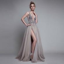 2018 fashion solid thinness deep V-neck sleeveless floor-length prom dresses