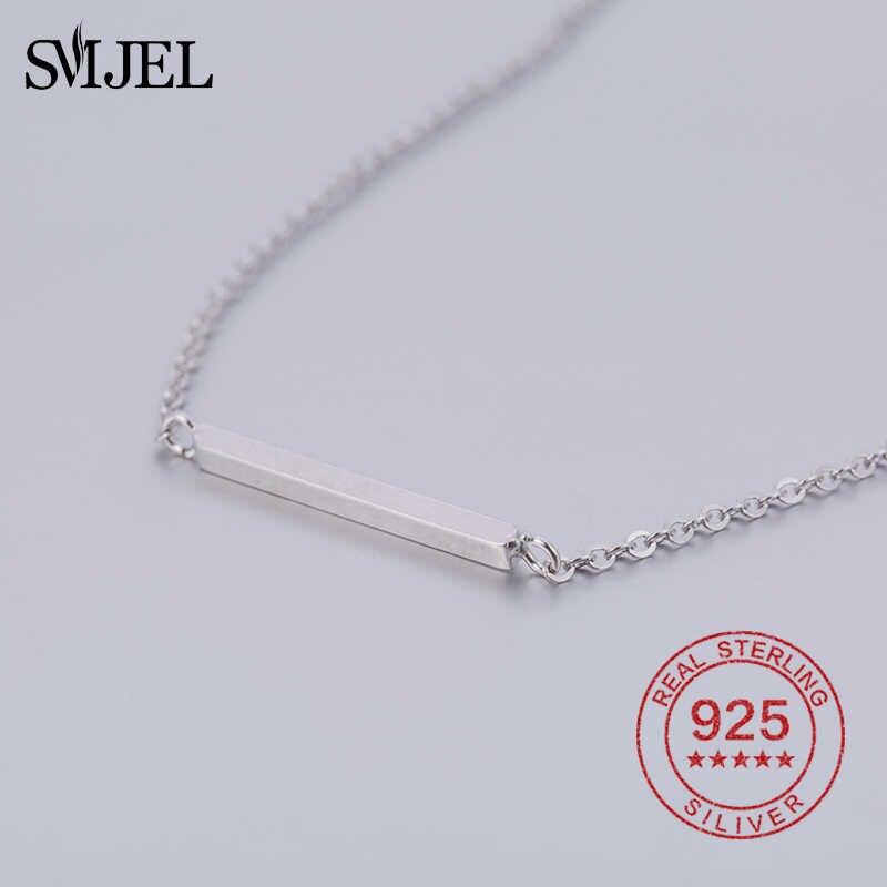 SMJEL 100% 925 srebro prosty naszyjnik tabliczka kobiety spersonalizowana biżuteria naszyjniki kobiet geometryczny wisiorek prezent sieraden