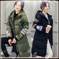 2016New Long Jacket Women Wide Waisted Winter Wear Print Overcoat Hooded Down Cold Proof Coat Warm Outerwear Thick Topcoat YY79