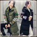 2016New Longa Jaqueta Mulheres Ampla Cintura Desgaste Do Inverno Impressão Casaco Com Capuz Para Baixo Casaco À Prova de Frio Outerwear Quente Grosso Topcoat YY79