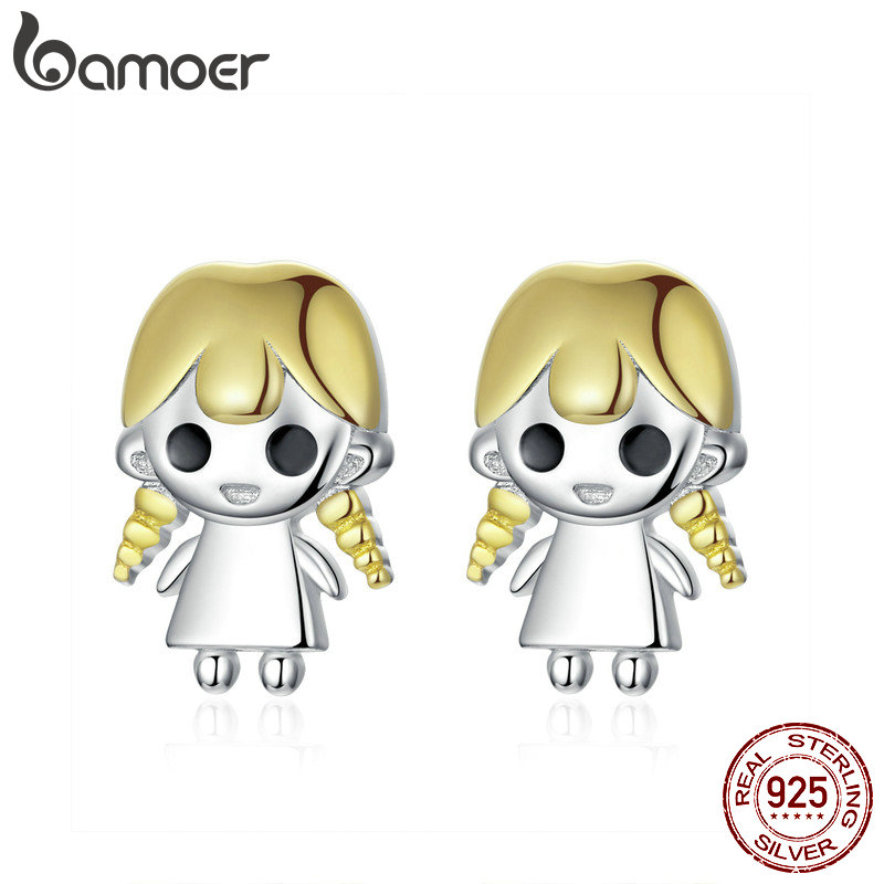 Pendientes de tachuela de la hija de bamoer para mujeres pelo de oro 925 diseño de plata de ley 2019 Nueva joyería Anti-alergia SCE675