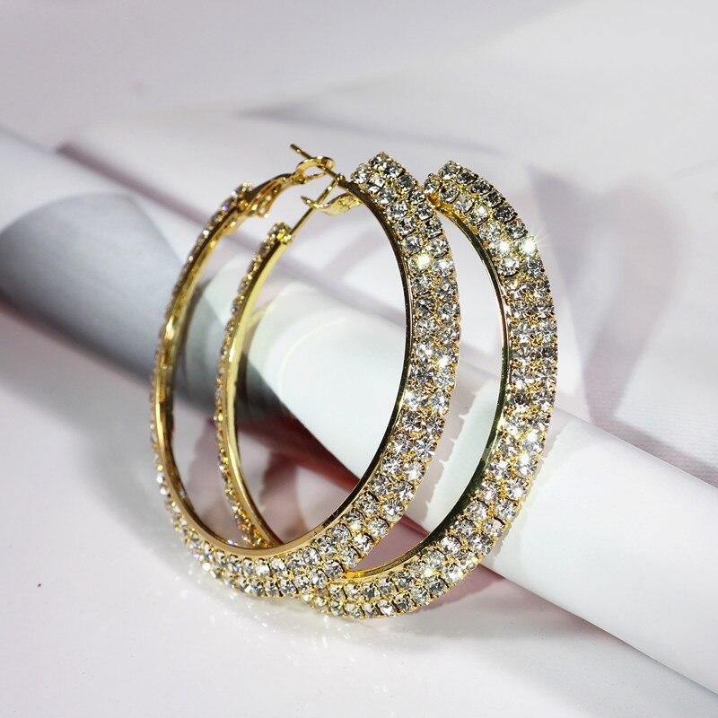 30-70mm Double Rows Basketball Wives Rhinestone Hoop Earrings Crystal Cubic Zirconia Hoop Earrings