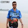 Mens Camisa Hawaiana Coconut Tree Impresión Floral Camisas Camisa Grande de Algodón Estilo Camisas de Vestir de Lujo Para Los Hombres de Verano Vetement Homme