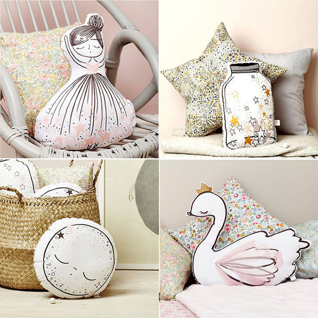 INS HOT Swan Soft Toy Cute Ballerina Moon Cushion Pink Home Sofa Decoration Pillow Baby Appease Music Doll KidsToy Gift For Girl