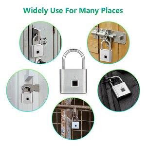 Image 5 - Parmak izi kilidi dijital kapı kilidi candado huella akıllı güvenlik anahtarsız USB şarj edilebilir asma kilit kendinden geliştirme çip