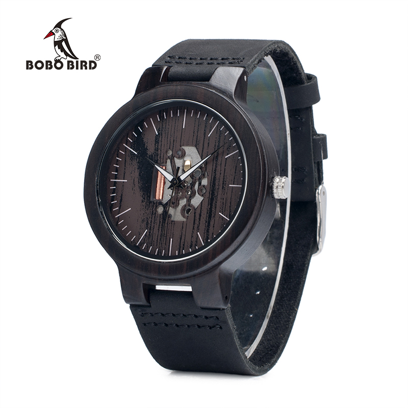 BOBO BIRD Black Wood Men's Watches Leather Band Wooden Wristwatches Vintage Gifts Watch Relogio Masculino C-H30 DROP SHIPPING bobo bird new luxury wooden watches men and women leather quartz wood wrist watch relogio masculino timepiece best gifts c p30