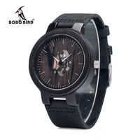 BOBO BIRD Men Wood Watch Japan Move T Quartz Watches Real Leather Band Wooden Wristwatches Vintage