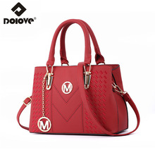 DOLOVE Fashionable New Style Women's Bags 2019, PU Leather  Messenger Bag, One-Shoulder Diagonal Embroidery Handbag