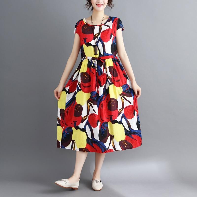 red cotton linen plus size vintage floral print women casual loose long summer dress elegant vestidos clothes 2019 dresses 5
