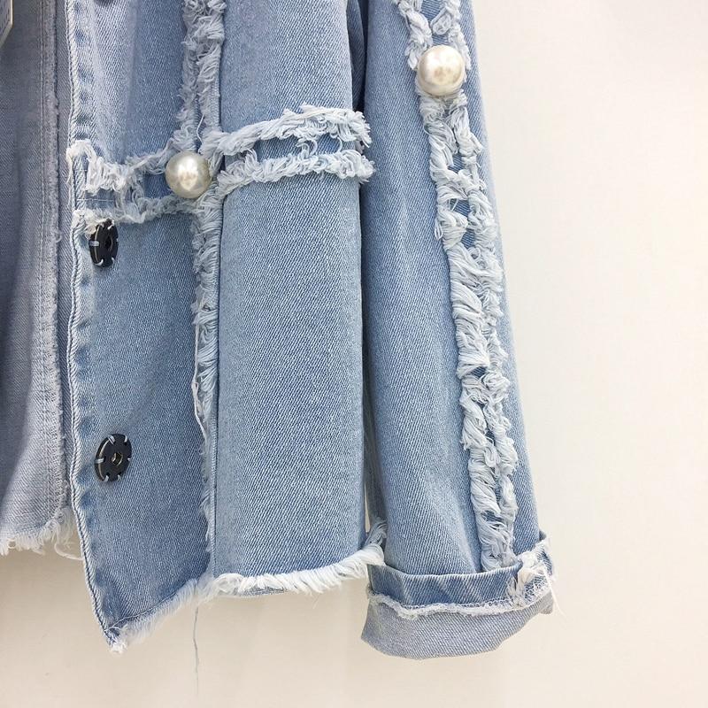 Couvert Veste Tops Courts Cowboy Wowen Grande Base De Manteau Perle Vestes Survêtement Bouton 2018 Nouveau Bleu Denim Mode Jeans Causalité UgwxqZzOE
