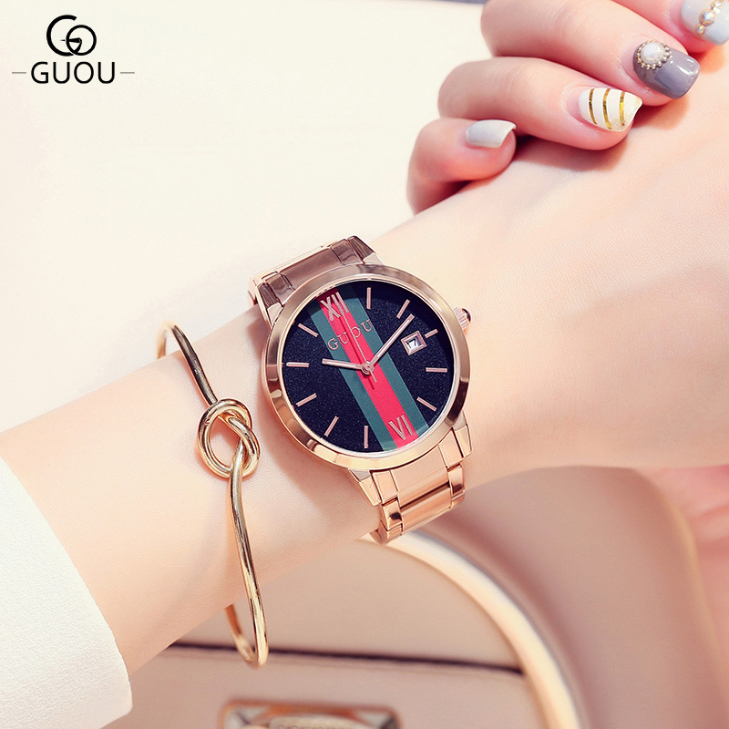 GUOU Top Brand Fashion Watches Women Elegant Rose Gold Clock Ladies Datejust Wrist Watch Relogio Feminino Hodinky Ceasuri Saat guou top brand women s watches bracelet ladies watch calendar saat square dial leather strap clock women montre relogio feminino