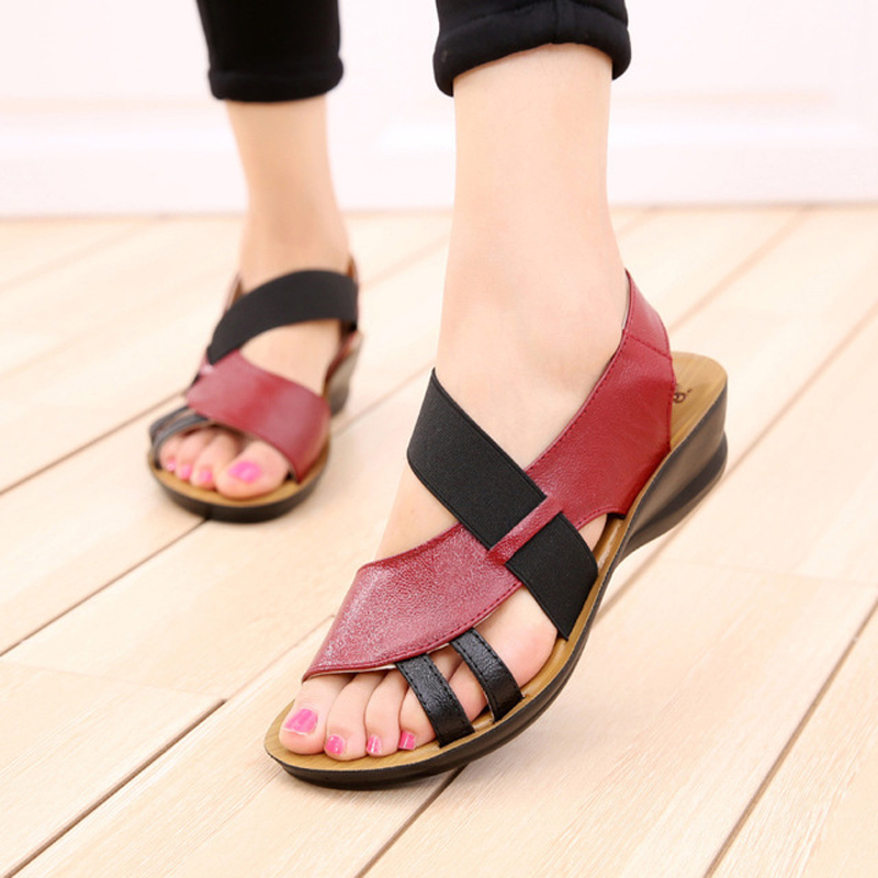 Sandals Fashion Genuine-Leather Shoes Wedge Comfortable Women C290 Soft-Bottom Middle-Aged