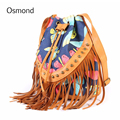 Osmond Women Leather Shoulder Bags Retro Tassel Flower Printing Bucket Bag Crossbody Handbag Rivet Messenger Bag