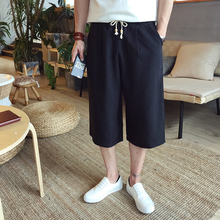 M-5XL   Big yards men's clothing!!!    2017 Summer fun and linen trousers Male loose wide-legged 7 minutes of pants Plus-size fa