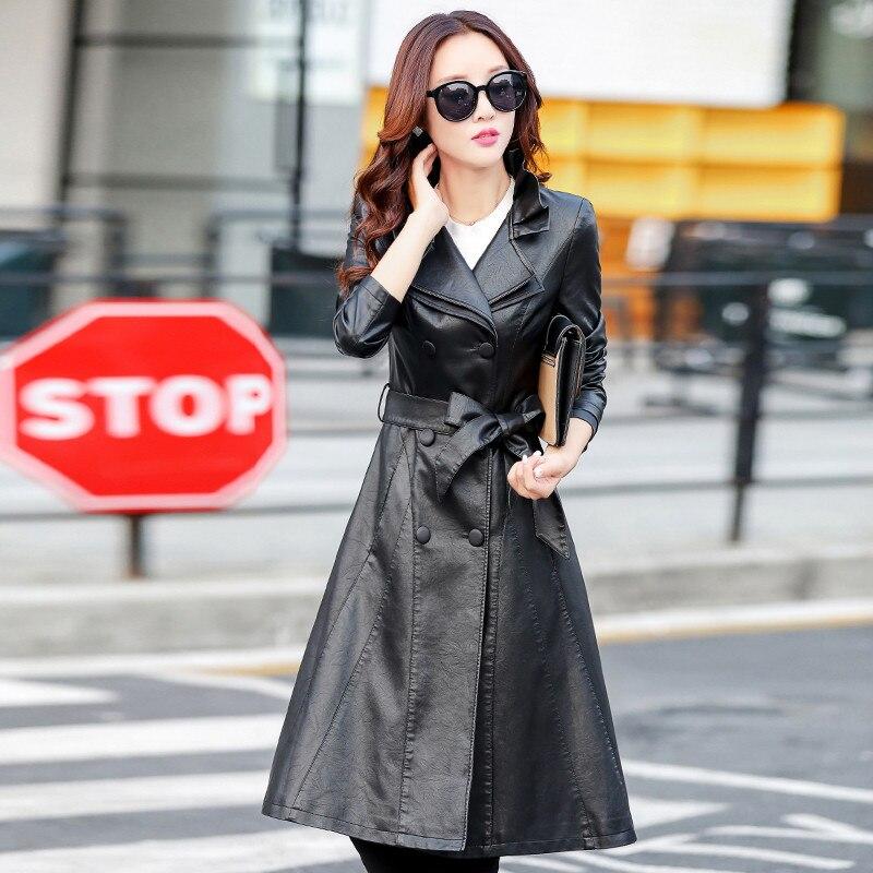 Hiver Coatsplus Teaegg 4xl 5xl Black Casual Automne Vêtements Taille Al657 Cuir Long black Et Vestes Warm Pu Femmes Liner Veste En Noir rtQdshC