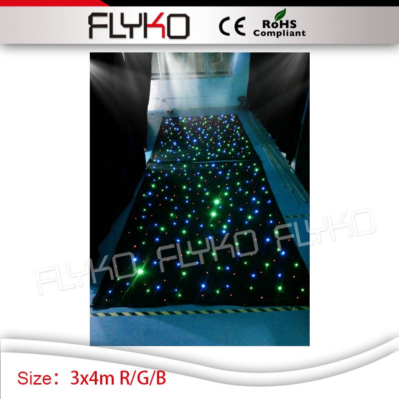R/G/B 3m high by 4m width wedding party show star curtain light twilking led curtain