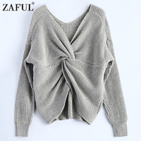 ZAFUL 2017 New 4 Colors V Neck Twisted Back Sweater Women Jumpers Pullovers Long Sleeve Knitted