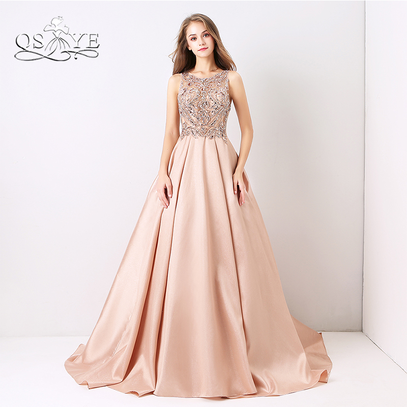 QSYYE 2019 New Arrival Long Prom Dresses Luxury Beaded Top Tank Sleeveless Crystals Satin Formal Evening Dress Party Gown Custom