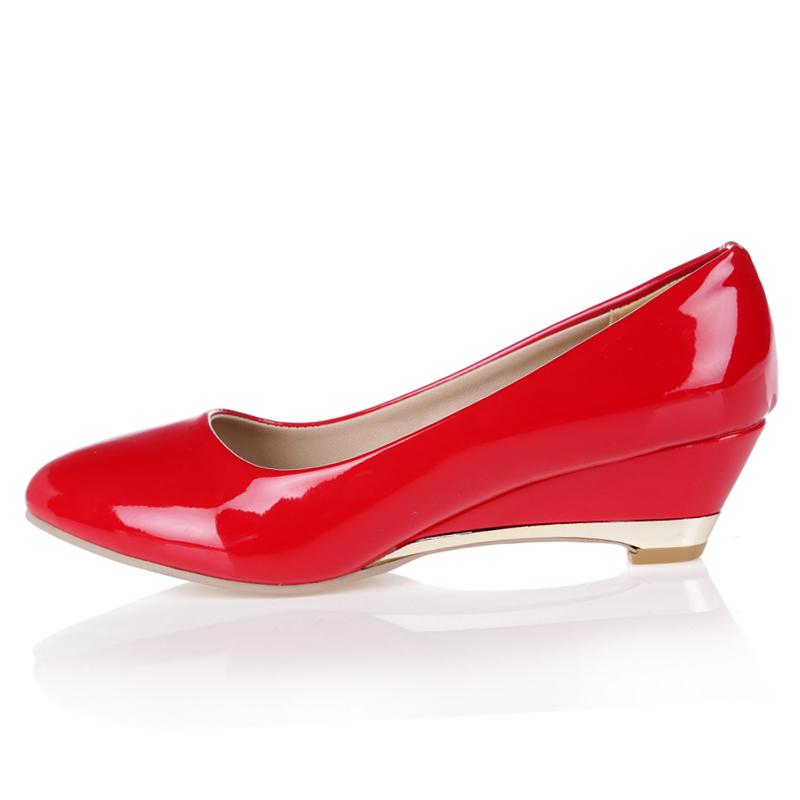Image 2 - Casual Wedge Shoes For Women Fashion Wedges Low Heels Red White Classic Pumps Party Wedding Office Shoes Ladies Large Size 45 48Womens Pumps   -