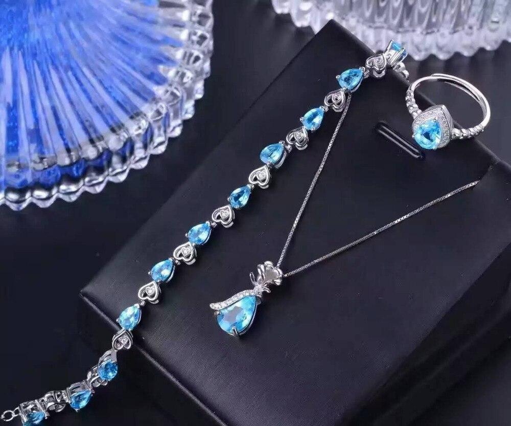 Natural blue topaz gem jewelry sets natural gemstone ring Pendant Bracelet 925 silver Stylish Elegant drop women party jewelry natural green jasper jewelry sets natural gemstone ring earrings pendant 925 silver stylish elegant heart women party jewelry