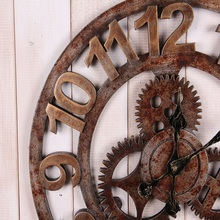 Retro Gear wood wall clock