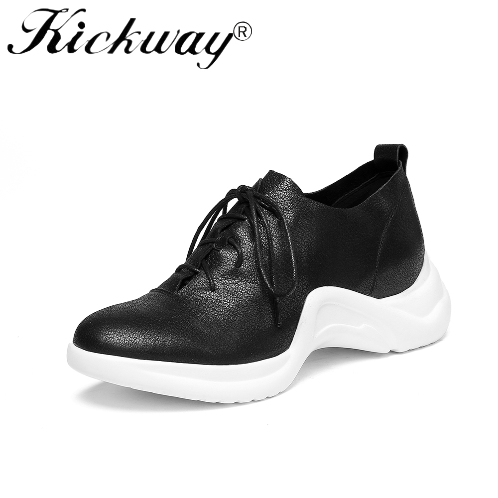 Kickway 2018 Women's Sneaker Shoes Lady Casual Black Shoes Women Sneaker Red Leisure Thick Soled Shoes Flats Cross tied Lace Up