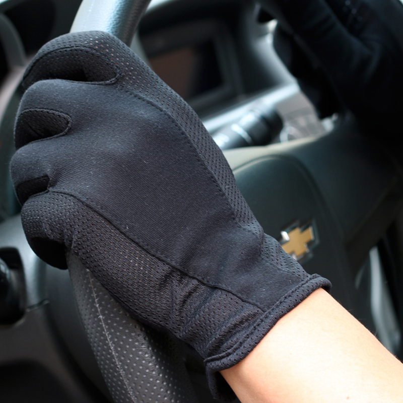1pair Summer Non-Slip Men Drive Gloves Cycling Touchable Screen Gloves Thin Anti UV Spring Autumn Driving Black Gloves