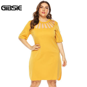 GIBSIE Plus Size Black Cut Out Round Neck Short Sleeve Mini Dresses Tunic Women Summer Casual Office Solid A Line Dress