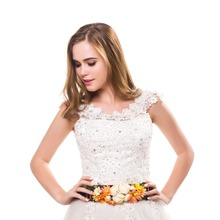 Women Fashion Wedding Sashes matching burned fabric elastic flower Belt