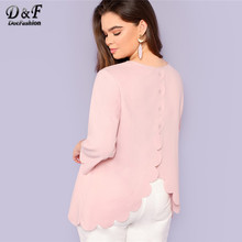 bed207aa4d Dotfashion Plus Size Pink Button Back Scallop Edge Top Women Casual Plain  Blouse Spring Autumn O-Neck 3/4 Sleeve Longline Shirt