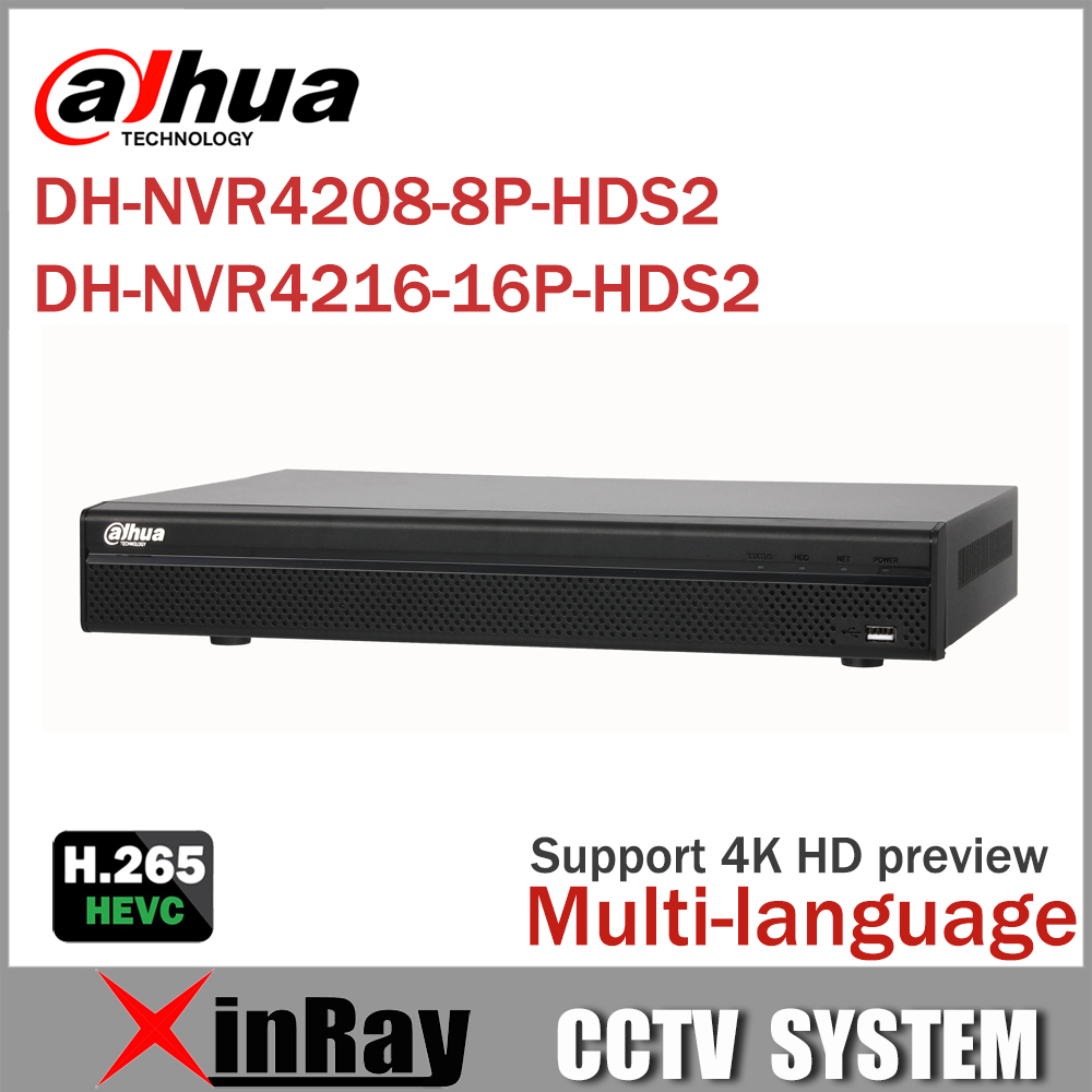 Dahua Network Video Recoder NVR4208-8P-HDS2 NVR4216-16P-HDS2 8/16CH NVR Support ONVIF  POE NVR  Recorder for  POE Camera english version ds 7716ni e4 16p 16ch nvr with 16 poe interface ip camera network video recorder 4sata for hdd support update