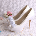 Hot Selling Sexy High Heels Ladies Shoes White Wedding Bride Flower Open Toe