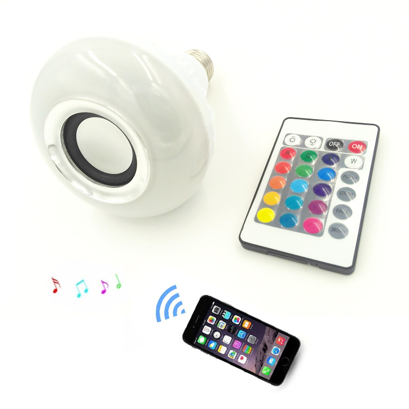 2018 Real Cree New Wireless Bluetooth Remote Control Mini Smart E27 Led for Audio Speaker Color Light Warm Bulb Music Lamp Ir icoco e27 smart bluetooth led light multicolor dimmer bulb lamp for ios for android system remote control anti interference hot