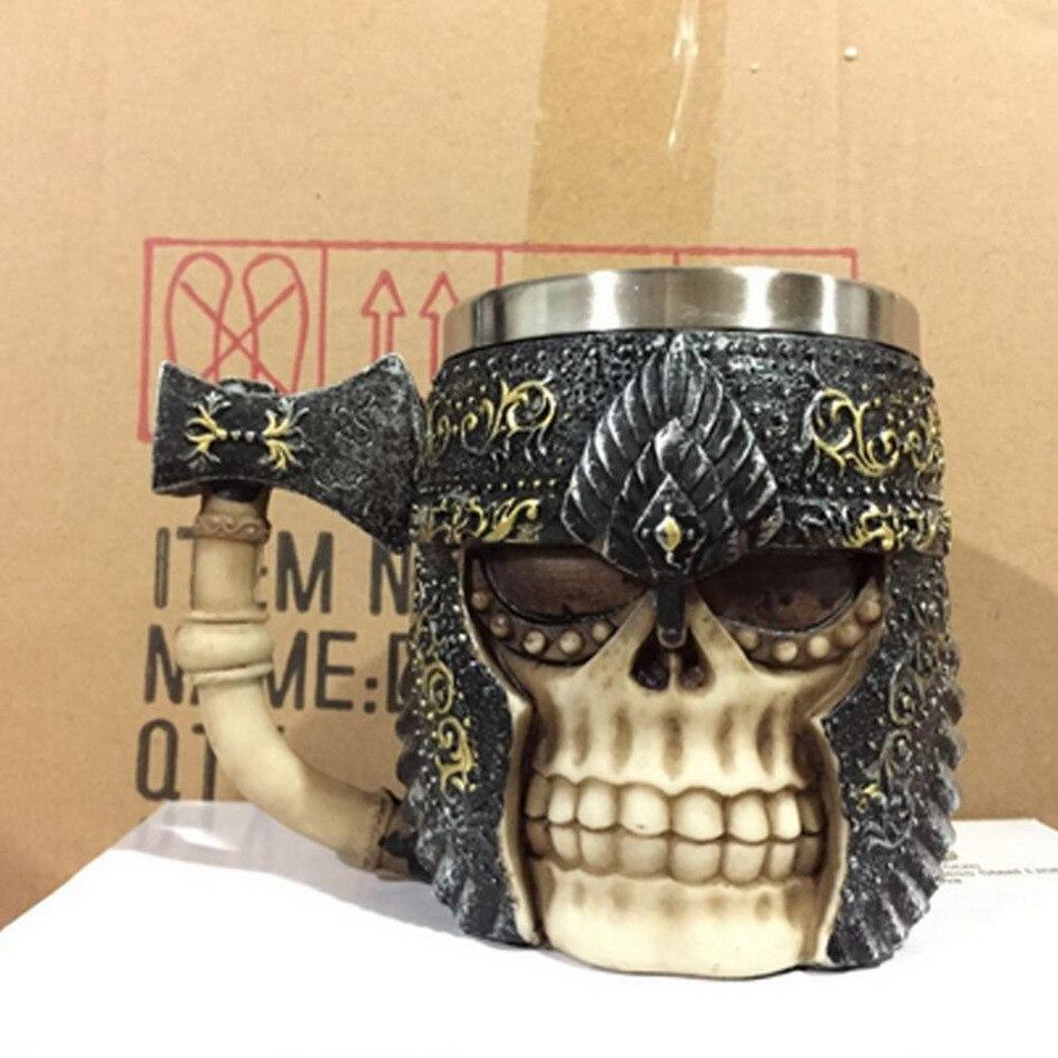 1 pz Battleax & Skull Boccale Tazza Vichingo Del Cranio Cornuto Casco Boccale Warrior Skull Boccale Gotico Bere Nave Super Cool