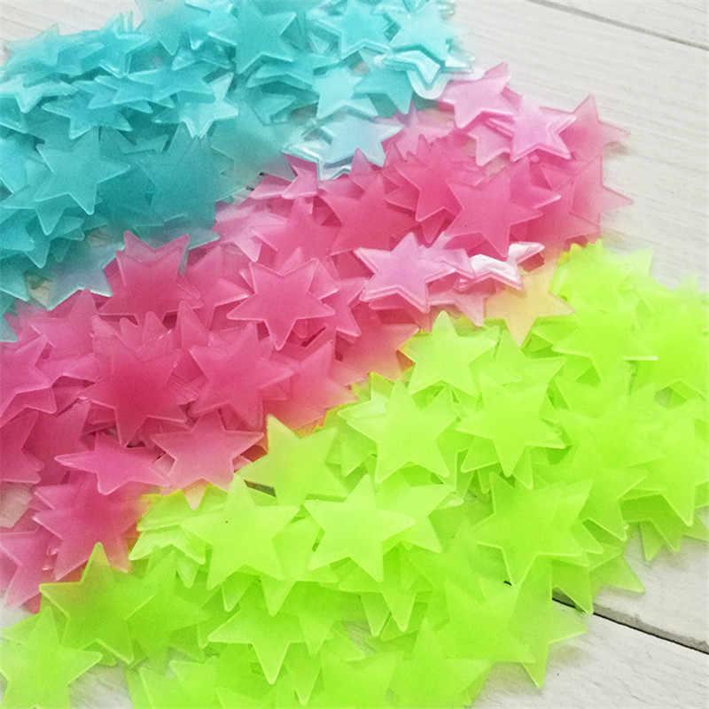 50 pçs/saco 3 centímetros Luminosa Estrela Adesivos Quarto Sofá Brinquedo Pintura Fluorescente PVC adesivos Brilham no Escuro Brinquedos para crianças