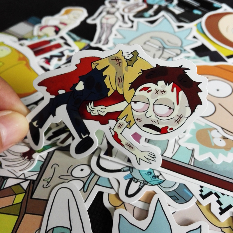 35Pcs bag American Drama Rick and Morty Funny Sticker Decal For Car Laptop Bicycle Motorcycle Notebook Waterproof Stickers in Stickers from Toys Hobbies