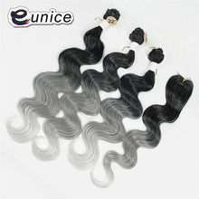 Synthetic Honey Blonde Hair Bundles with Closure Body Wave Ombre Eunice Hair Weave Bundles T1B Grey Sew In Hair Weft 4pieces/lot(China)
