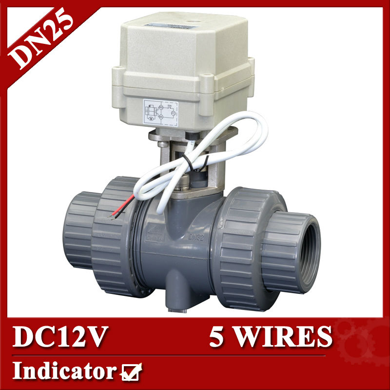 1 DC12V PVC-U electric control valve, 5 wires control(CR501) PVC ball valve,DN25 motorized ball valve 1 2 dc24vbrass 3 way t port motorized valve electric ball valve 3 wires cr301 dn15 electric valve for solar heating