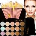 15 Colors Face Cream Makeup Camouflage Concealer Palette+20Pcs Makeup Brushes Set Pink Gold with Black Bag T2N2