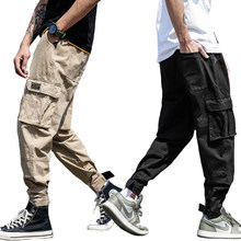 Fashion Streetwear Youth Mens Jeans Jogger Pants Yellow Color Boot Cut Slim Fit Leg Brand Ankle Banded Pants Tied Jeans Men(China)