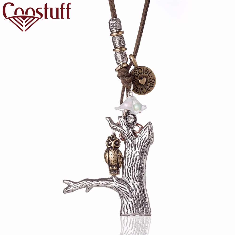 Special Tag Owl Tree Vintage Woman Necklaces Jewelry statement necklaces & pendants Long necklace for women collares mujer