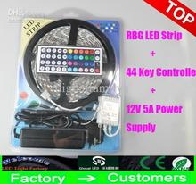 5M Christmas Gifts Led Strip Light RGB 5050 SMD 300Led Waterproof + 44Key Controller + 12V 5A Power With Retail Package